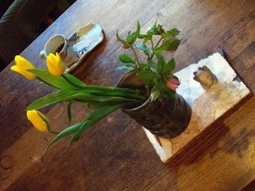 陶工房 滋風の食卓。手前の棚板の上に、鬱金香とヘレボルスを生けた Sigeru の花器と風花の猫カード立て。奥に風花の龍柄のコーヒー・カップ & ソーサー。