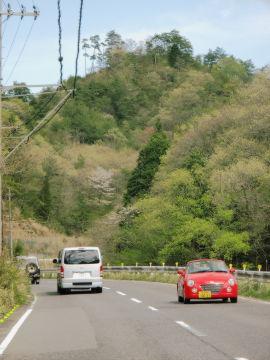 【写真】大戸川沿いの県道 16 号線から見える遅咲きの山桜。対向車線に赤いダイハツ・コペン。追い越していった、Sigeru の運転する青いスズキ・ジムニー(JA11 の幌車)とそれに続く銀色のトヨタ・ハイエース。[撮影:ユウタ]